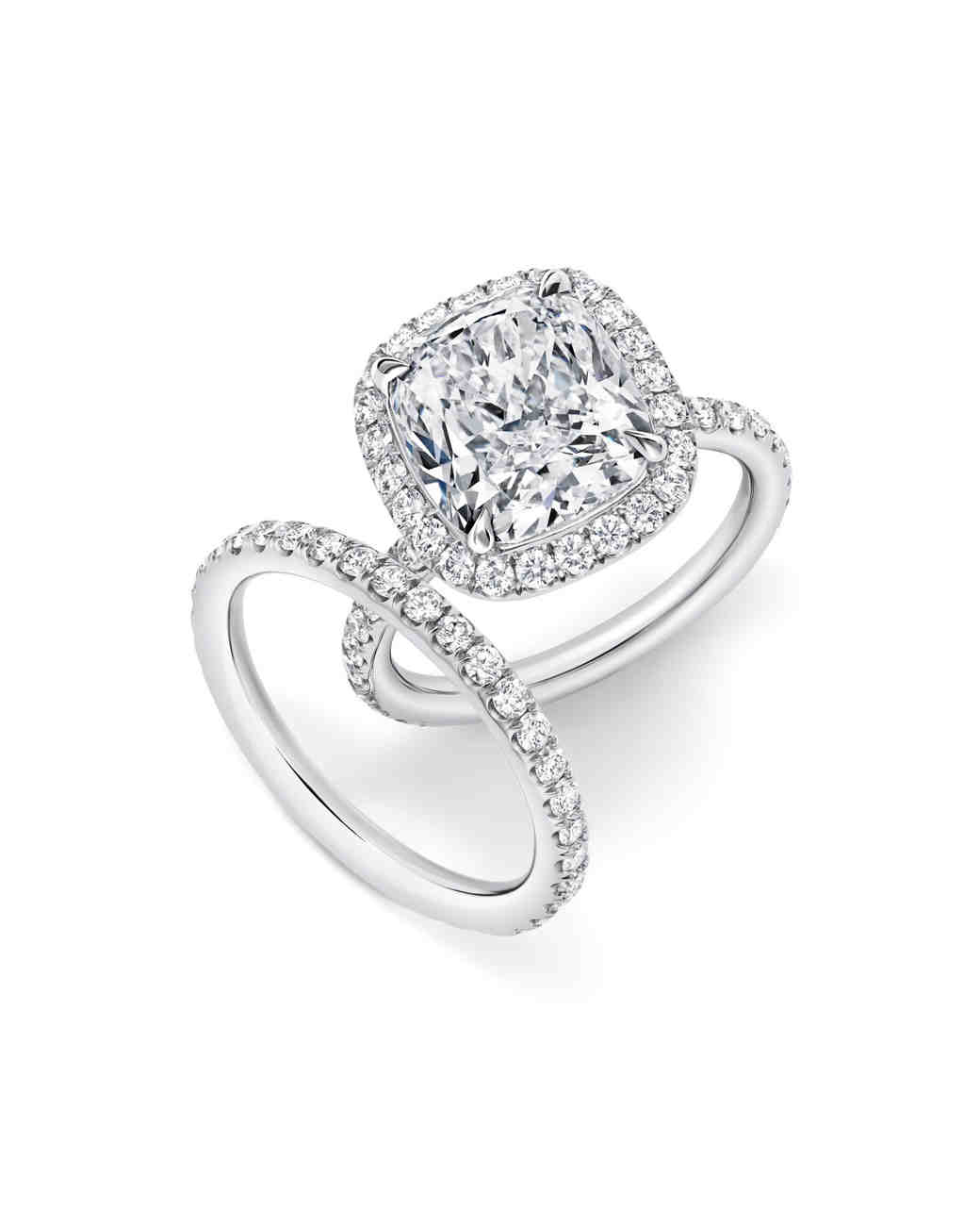 engagement htm cut cushion shape band amp en with studded halo ring br art diamond mazal rings
