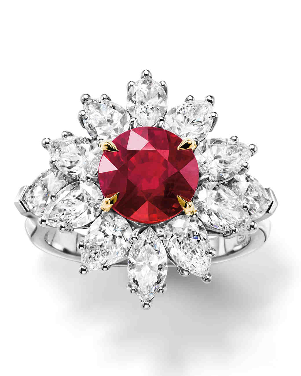 Harry Winston Ruby Engagement Ring with Flower Diamond Halo
