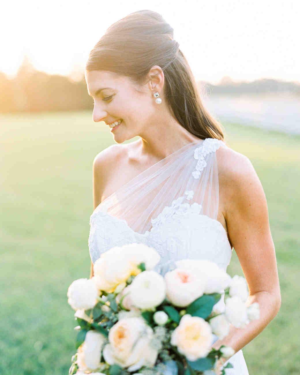 bride wearing simple earrings