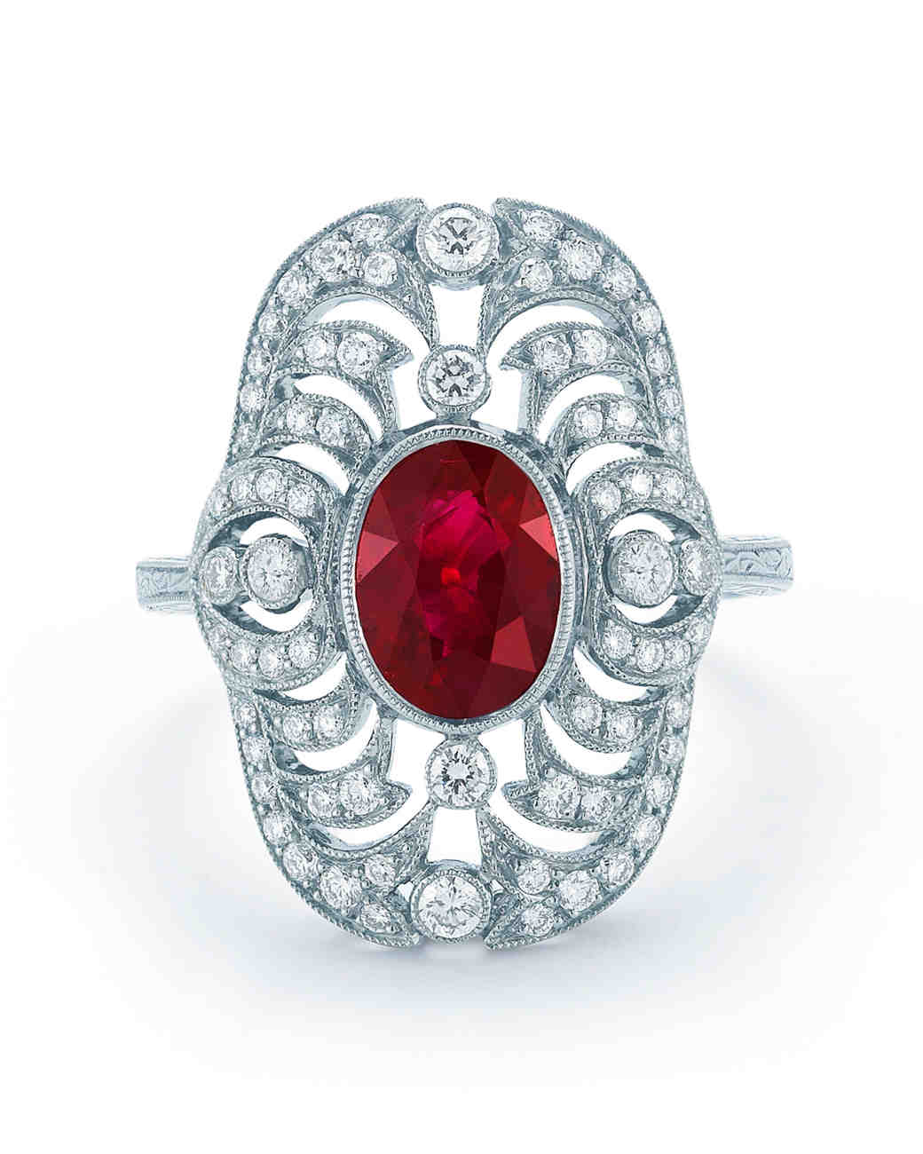 Kwiat Vintage Ruby Engagement Ring with Intricate Diamond Border
