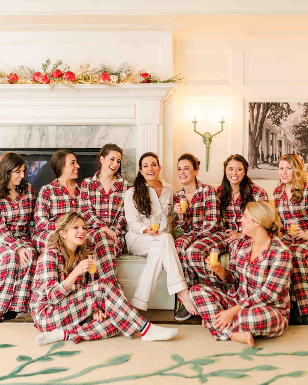 lauren christian christmas wedding plaid pajamas bride bridesmaids getting ready