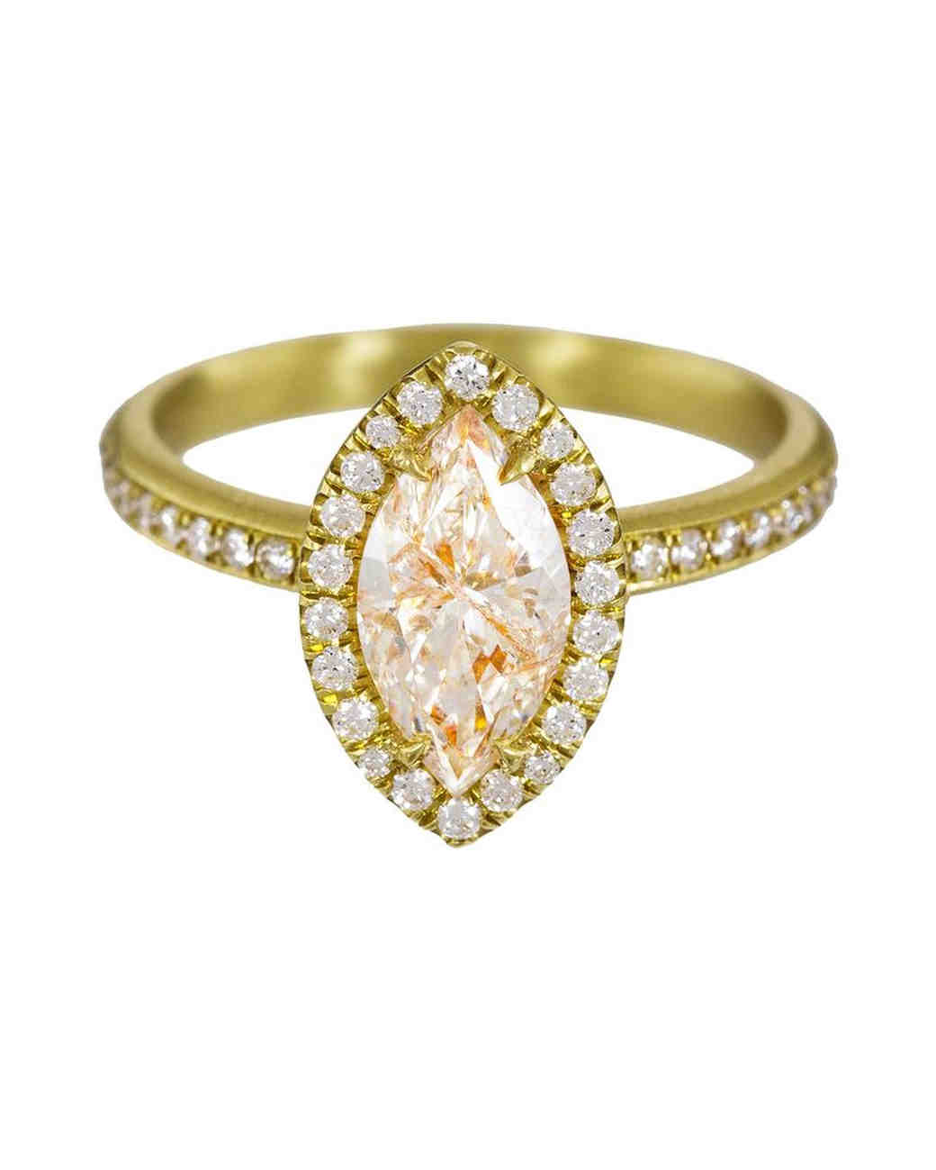 Mandrel Studio Marquise-Cut Engagement Ring with Diamond Shank Gold Band and Halo