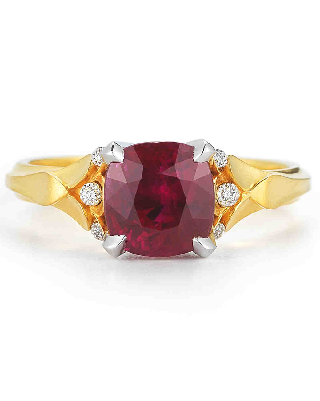 McTeigue & McClelland Ruby Classic Flora Engagement Ring with Diamonds