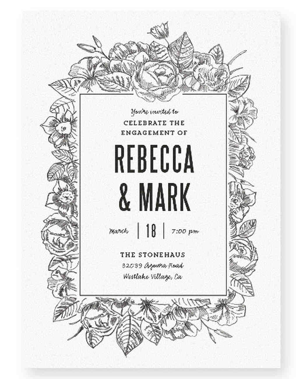 paperless engagement party invite floral black white
