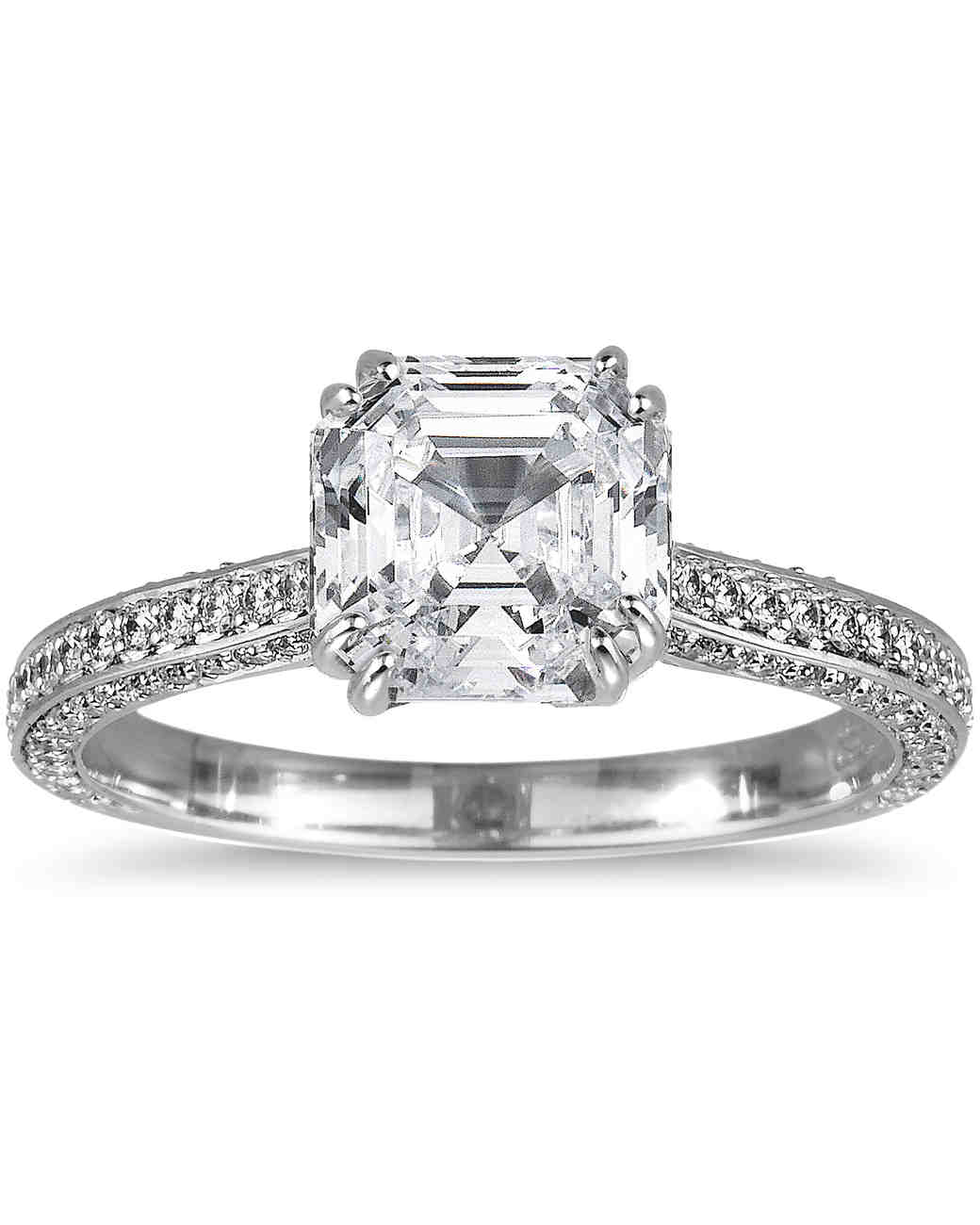 Asscher-Cut Diamond Engagement Rings | Martha Stewart Weddings