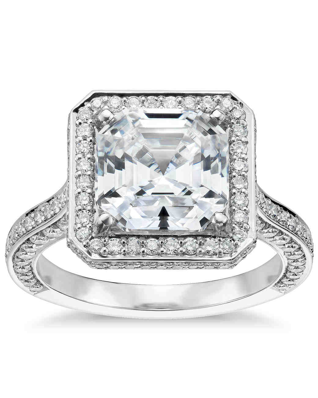 Blue Nile vintage-inspired asscher-cut engagement ring