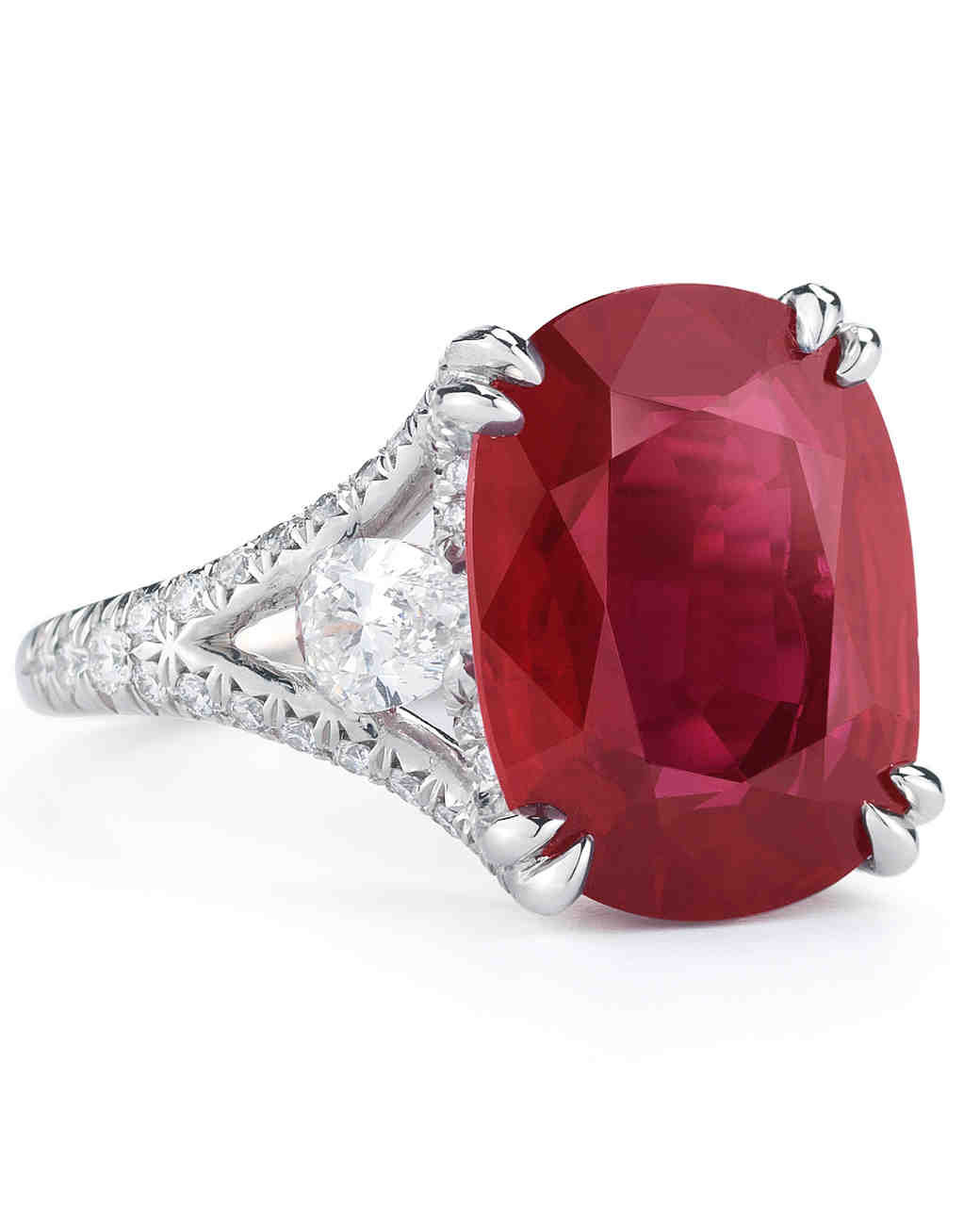 McTeigue & McClelland Ruby & Diamond Lotus Engagement Ring
