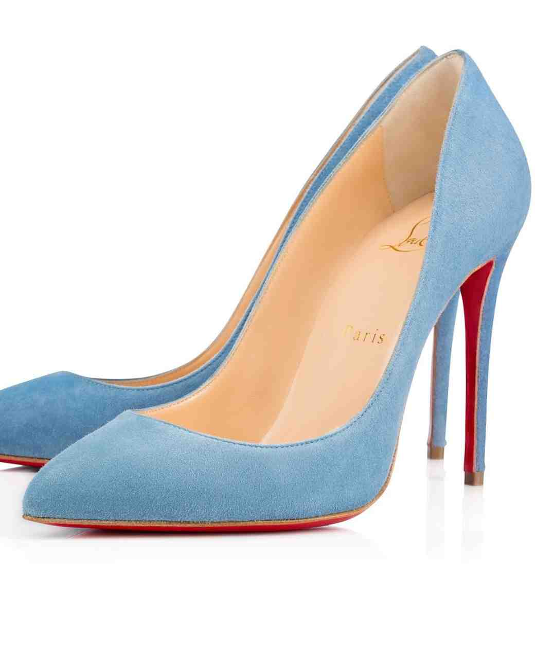 Christian Louboutin classic Blue Suede Pumps
