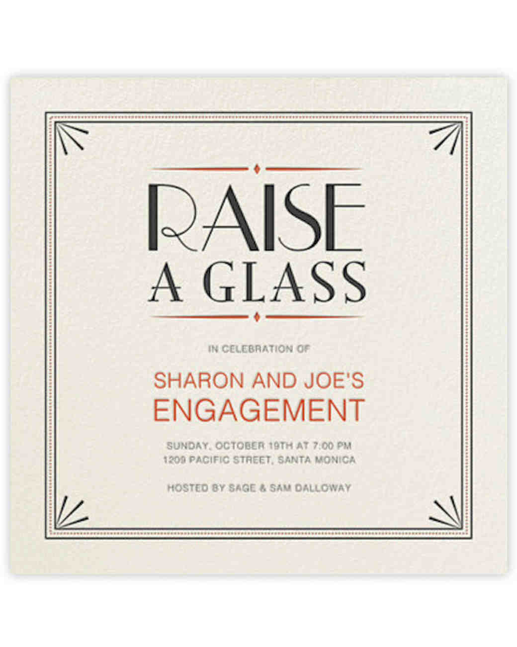 Martha Stewart Weddings  Free Engagement Party Invites