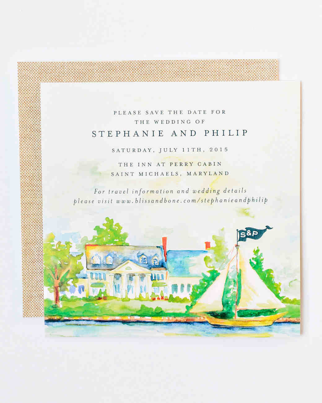 stephanie philip wedding maryland watercolor save the date
