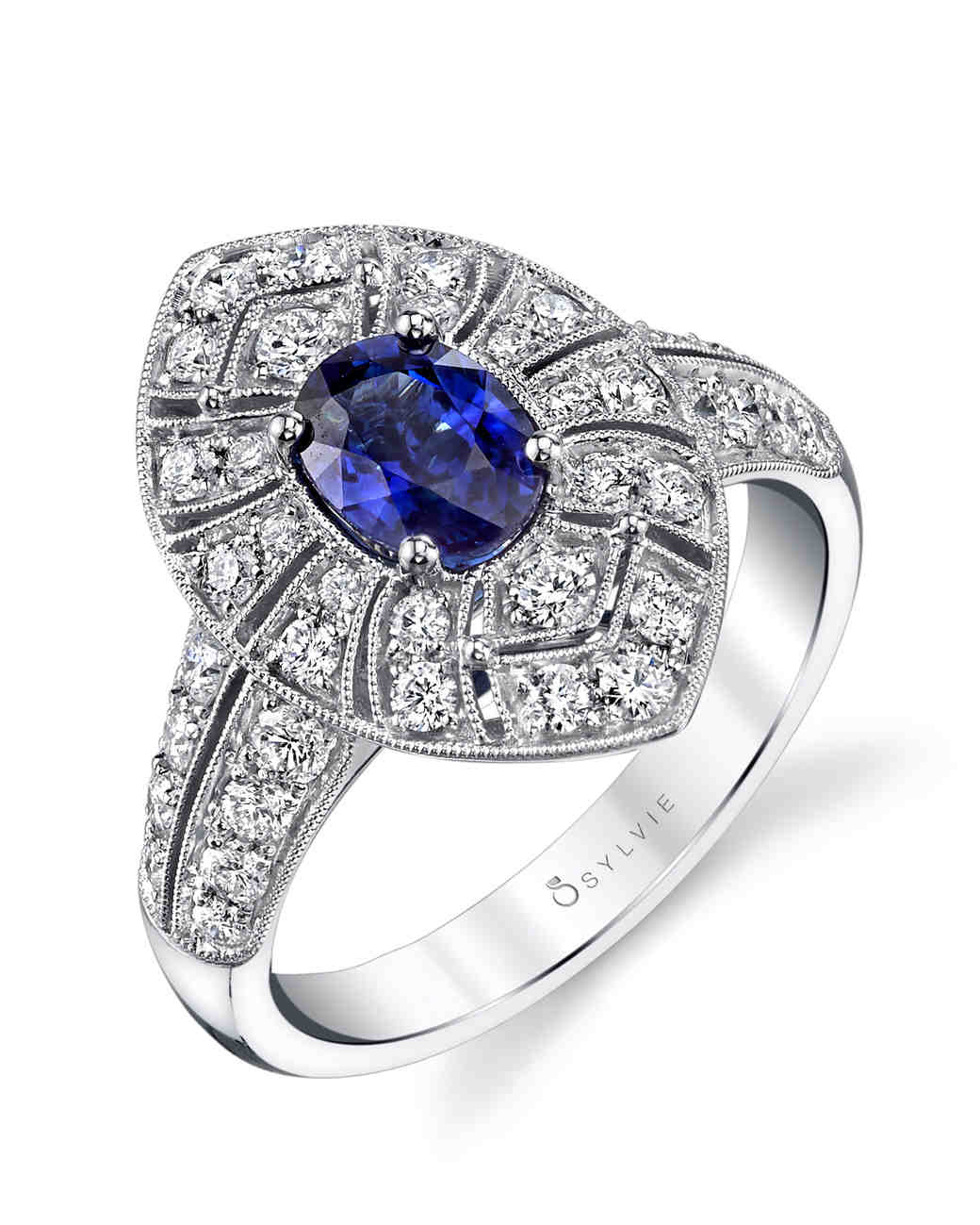 Sylvie Collection vintage-inspired sapphire and diamond engagement ring