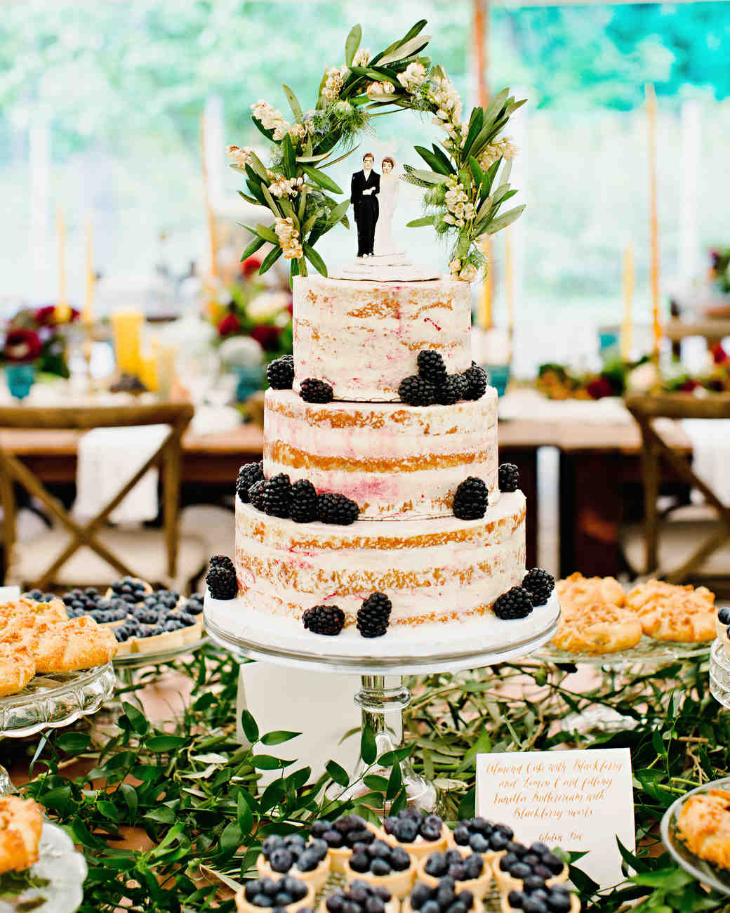 Naked Blackberry Wedding Cake