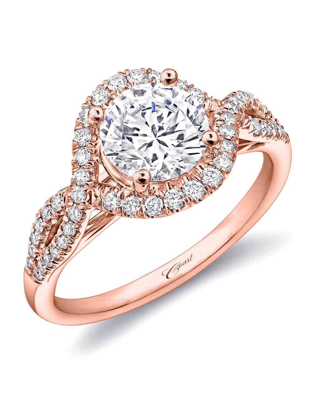 41 rose gold engagement rings we love martha stewart weddings. Black Bedroom Furniture Sets. Home Design Ideas