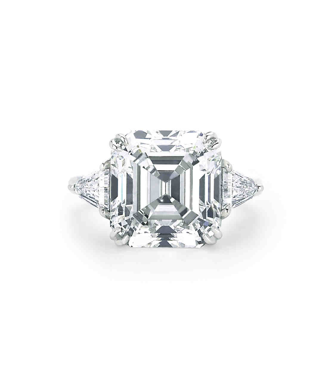 Forevermark Asscher-Cut Engagement Ring with Trillions on Platinum Setting