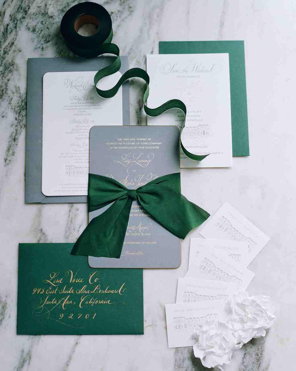 Green and gold metallic invitations