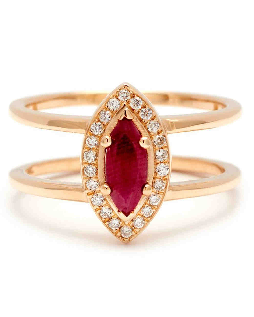 Anna Sheffield Double-Banded Marquise-Cut Ruby Engagement Ring