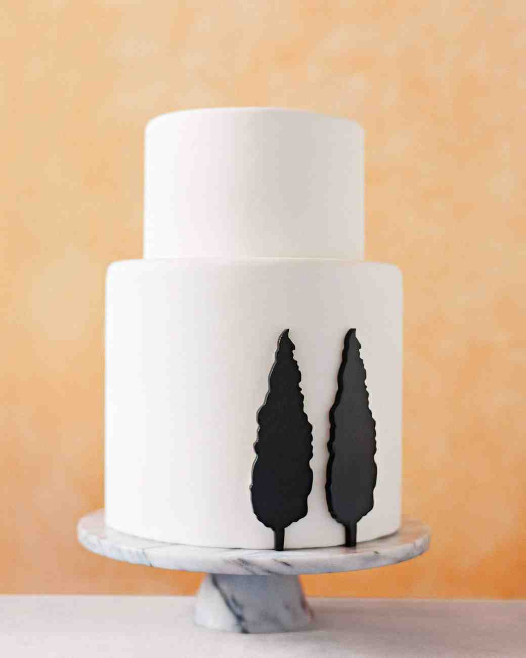 White Cake with Black Fondant Cyprus Trees