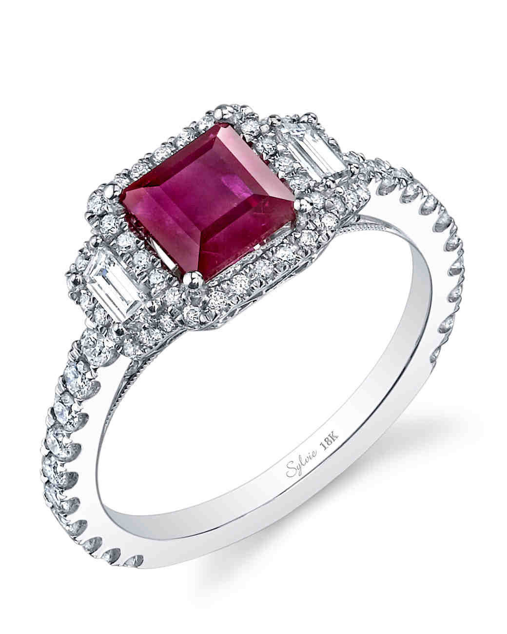Sylvie Collection Princess-Cut Ruby Engagement Ring
