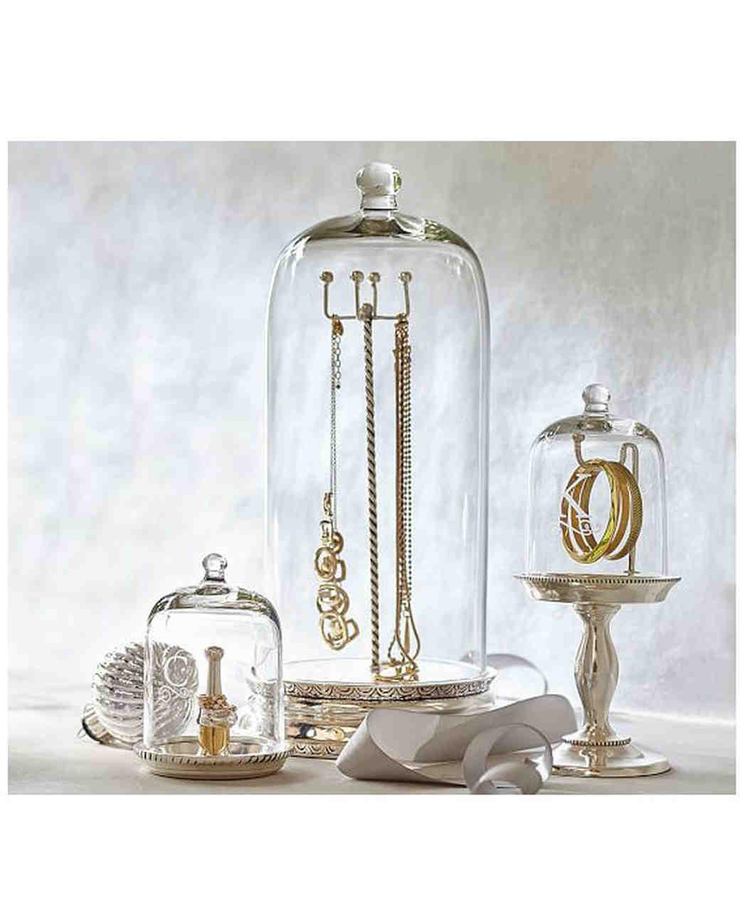 hollowware anniversary gifts glass cloche jewelry storage pottery barn