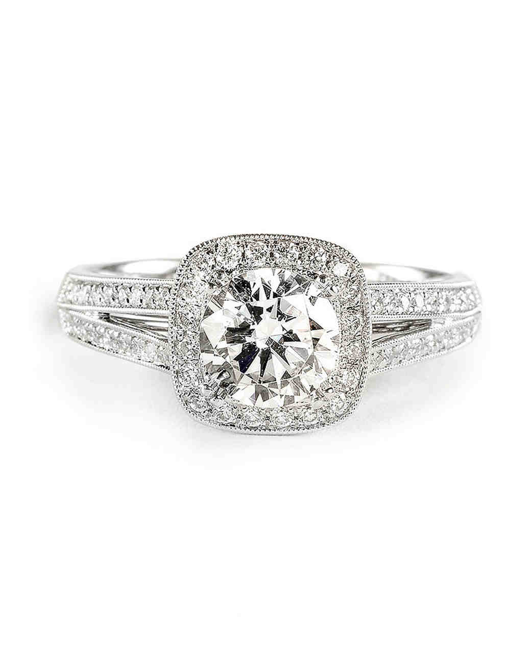 Sylvie Collection Cushion-Cut Engagement Ring with Split Shank and Halo