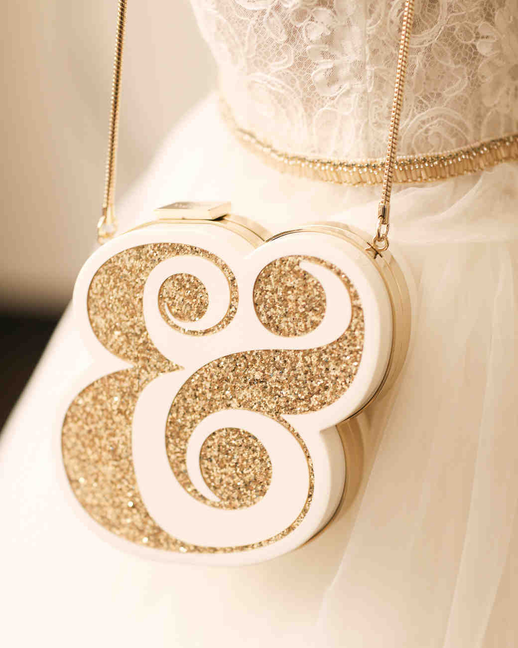 Glittering Gold Ampersand Wedding Accessory Purse