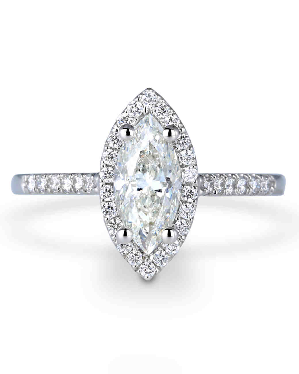 Forevermark White Gold Marquise-Cut Engagement Ring with Halo