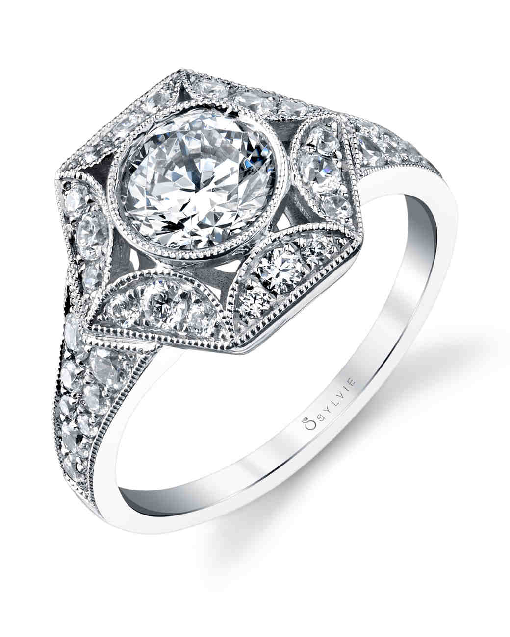 Sylvie Collection vintage-inspired engagement ring with diamond halo and cutouts