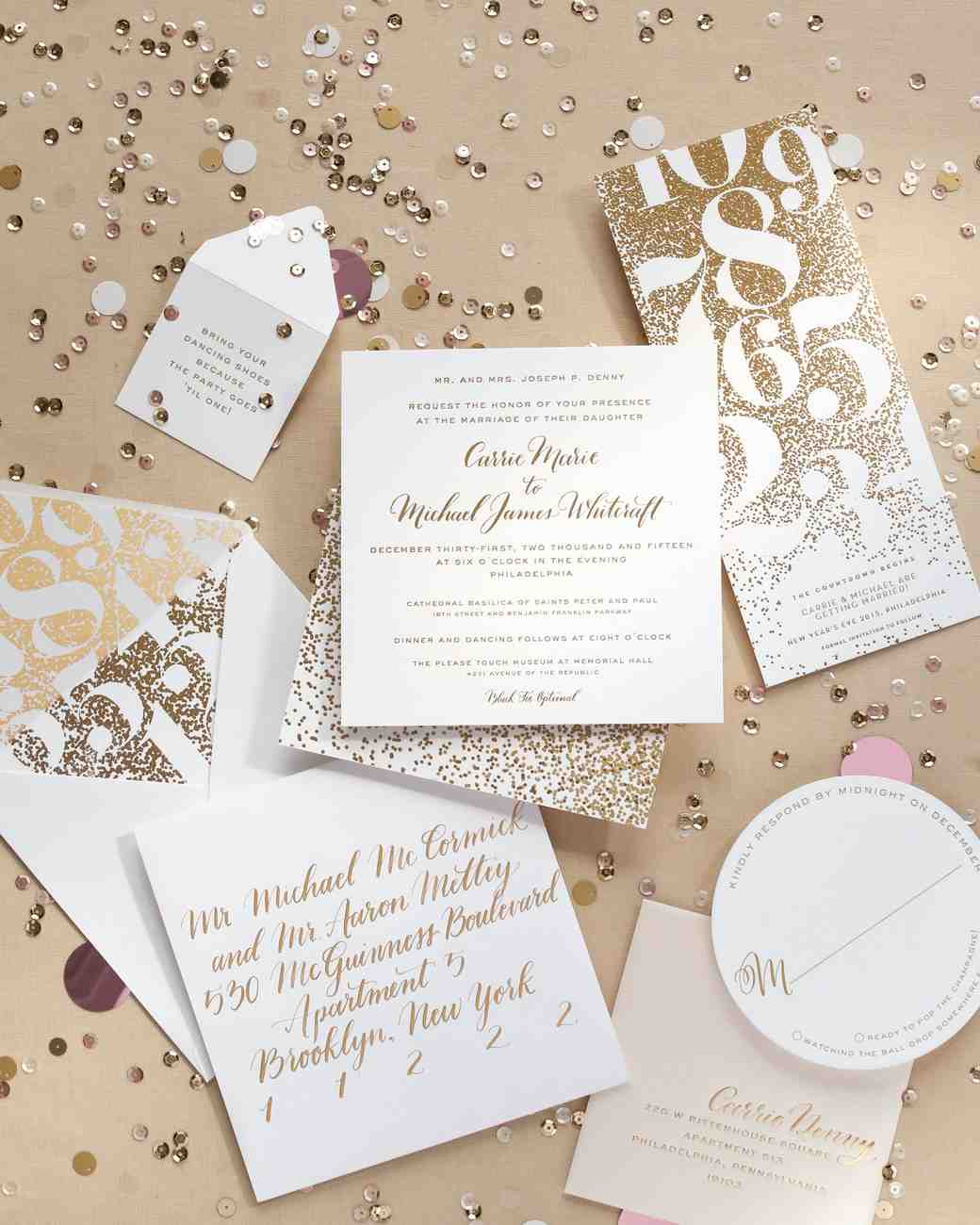 A metallic new years eve wedding in philly martha stewart weddings new years eve wedding stationery junglespirit Gallery