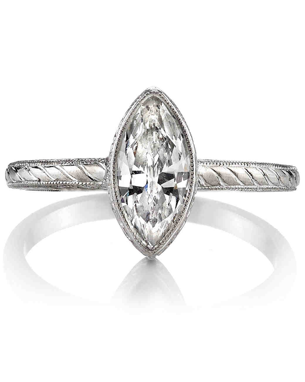 Single Stone Marquise-Cut Vintage Engagement Ring and Textured Band