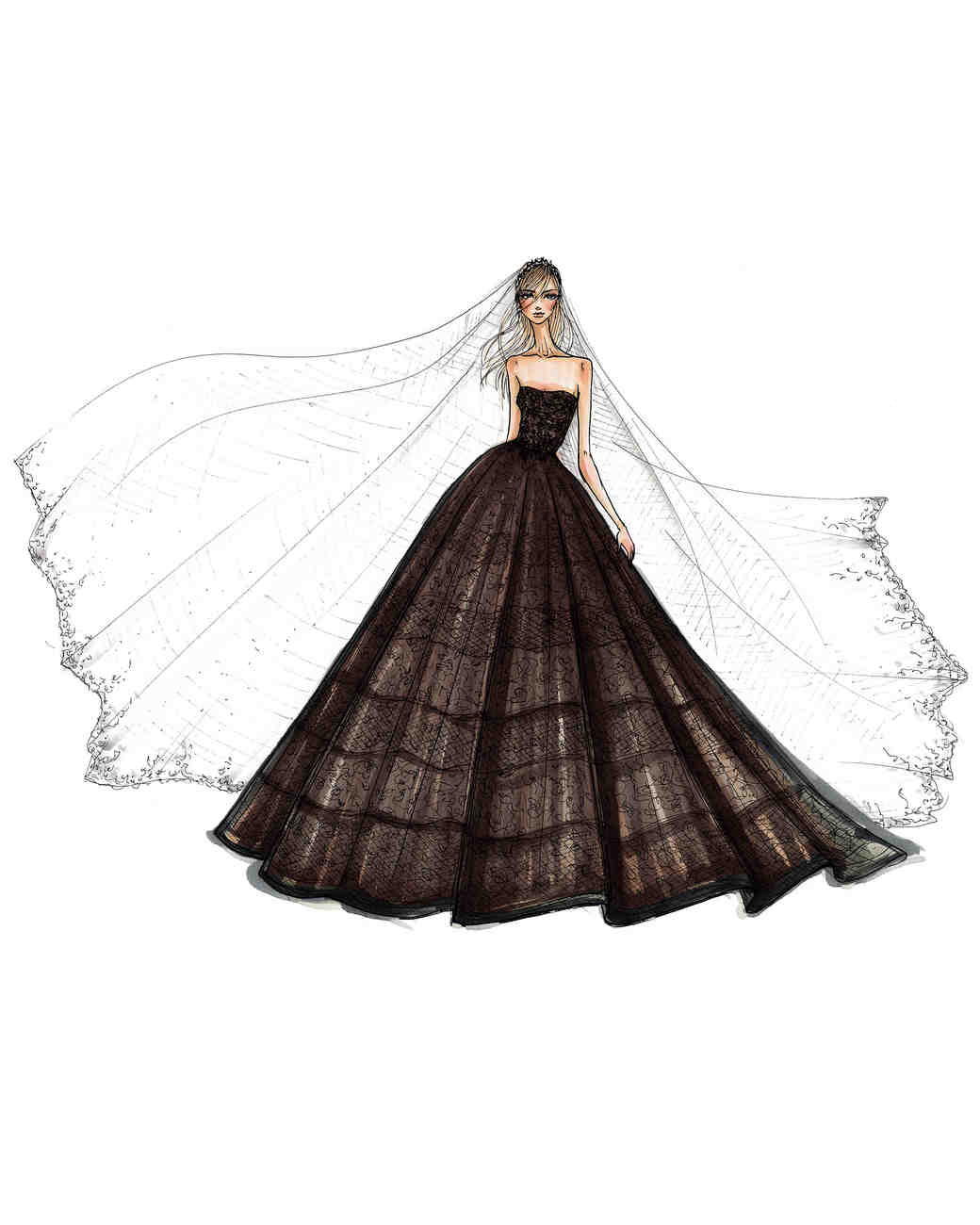 white by vera wang at davids bridal wedding dress sketch