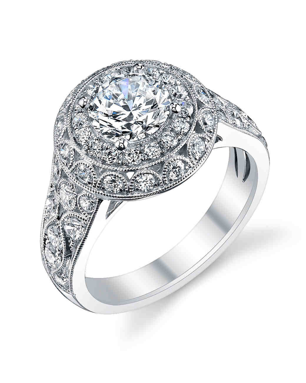 Sylvie Collection vintage-inspired white gold engagement ring with diamond shank