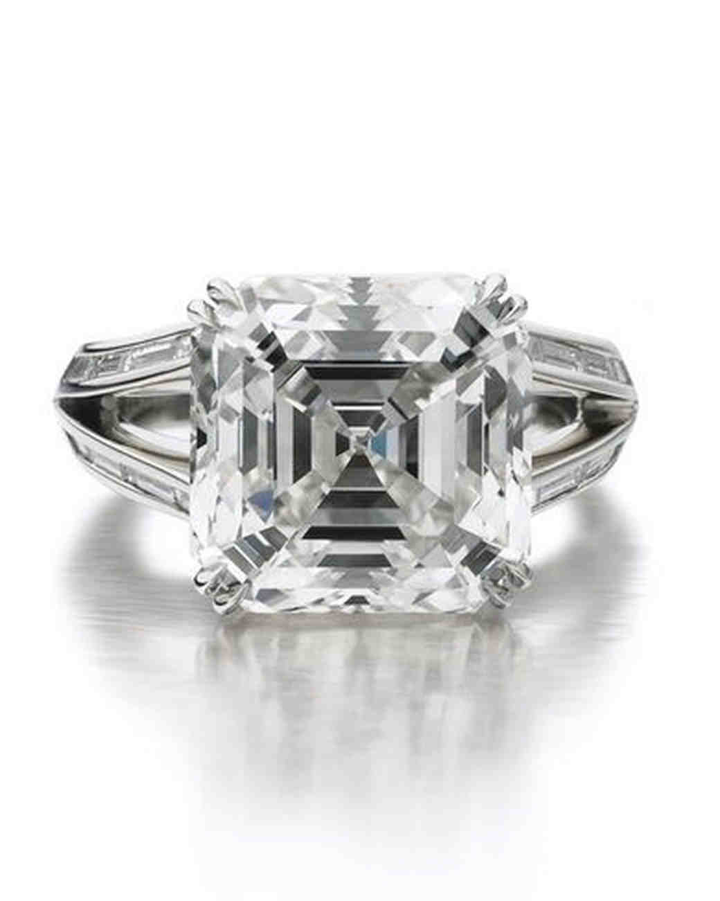 Forevermark by Maria Canale vintage-inspired engagement ring with split shank and asscher-cut diamond