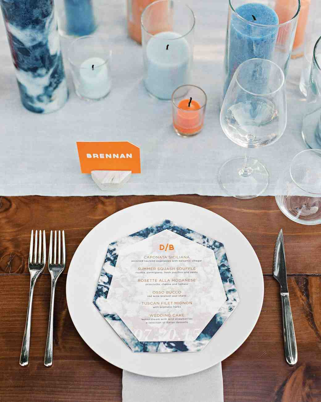 Blue Orange and Marble Table Setting & 18 Creative Ways to Set Your Reception Tables | Martha Stewart Weddings