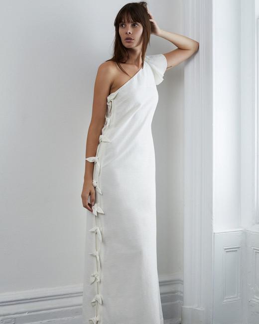 lein fall 2018 wedding dress one shoulder column side ties