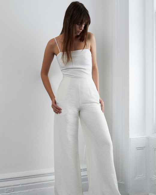 lein fall 2018 wedding dress jump suit spaghetti straps wide leg