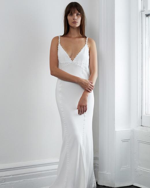 lein fall 2018 wedding dress spaghetti straps v-neck trumpet