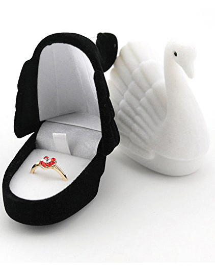 ring boxes black and white swans