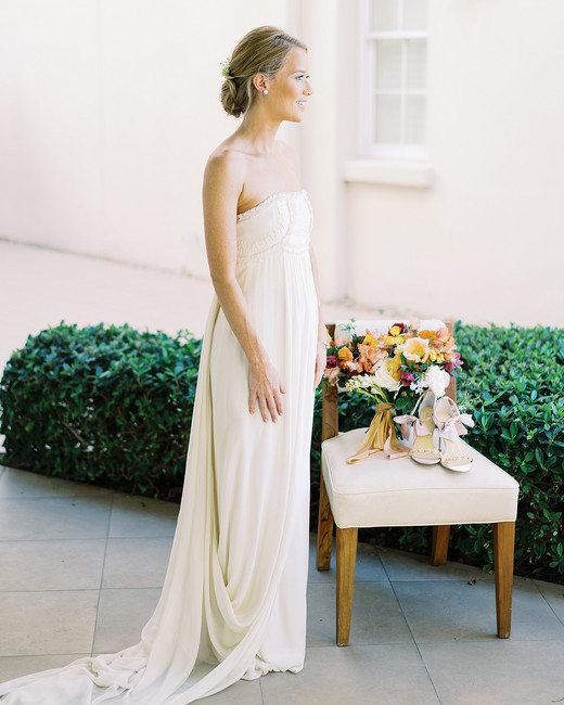beth john wedding bride chair with bouquet and shoes