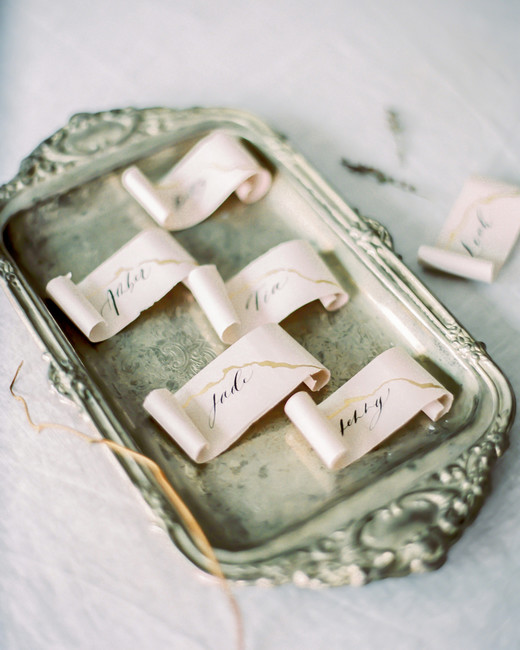 metallic accent scrolls on serving tray