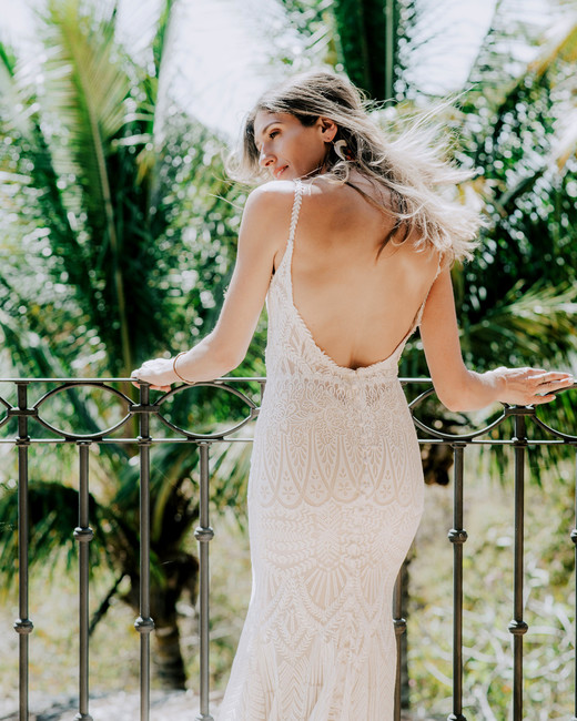 Aztec lace spaghetti strap low back sheath Allure gown