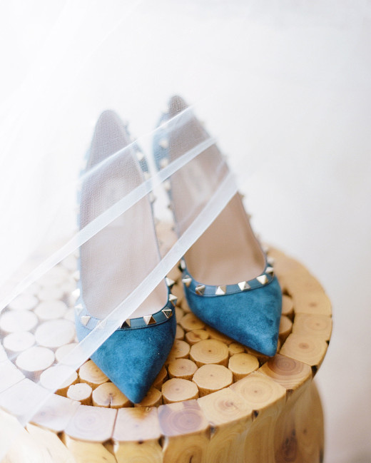 blue Valentino Rockstud Pumps