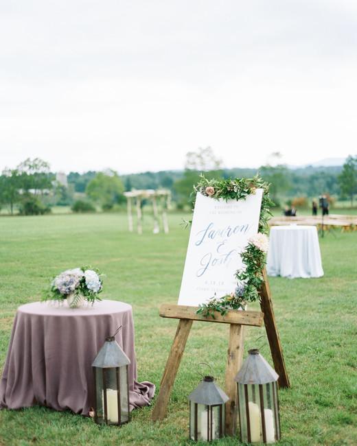 lauren josh wedding sign in field