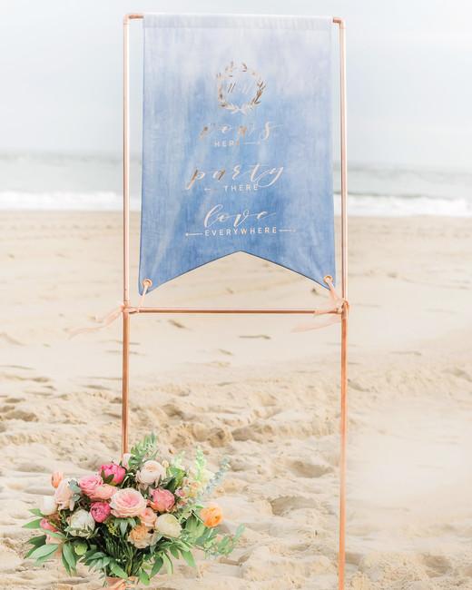 banner decor beach sign sand flowers