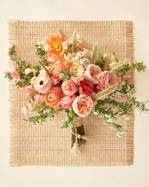 bouquet on raffia mat woven