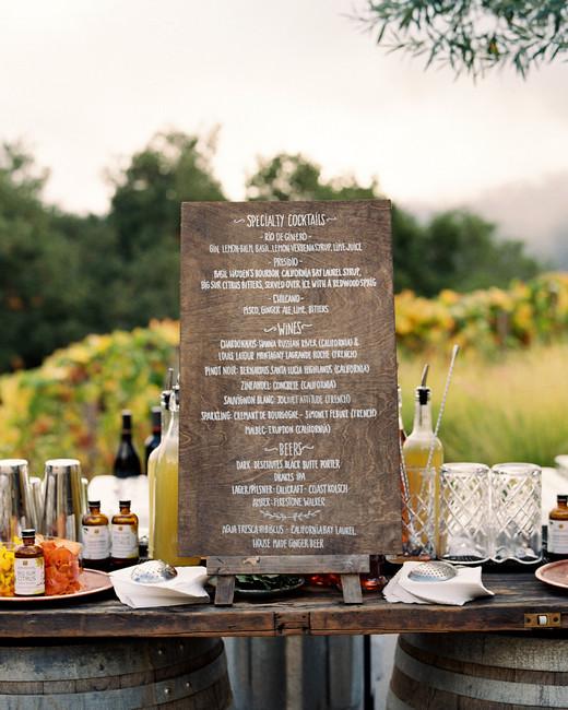 rustic barrel bar cocktail hour sign