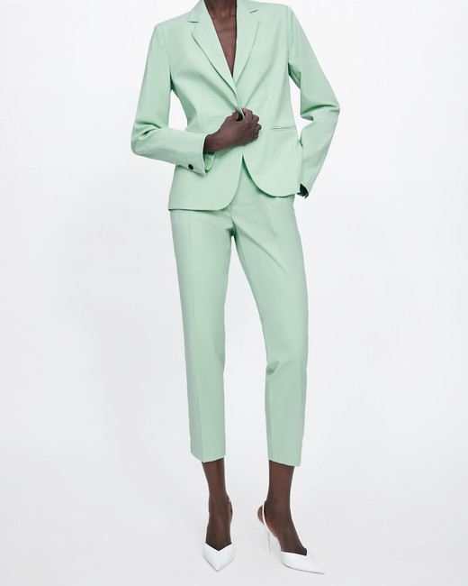 Teal Green Buttoned Blazer and Cigarette Pants