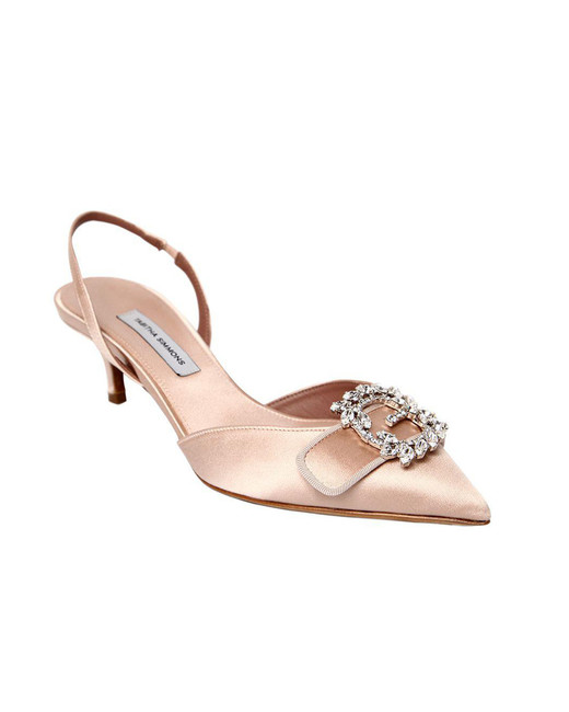 nude shoe rose satin sling backs with crystals