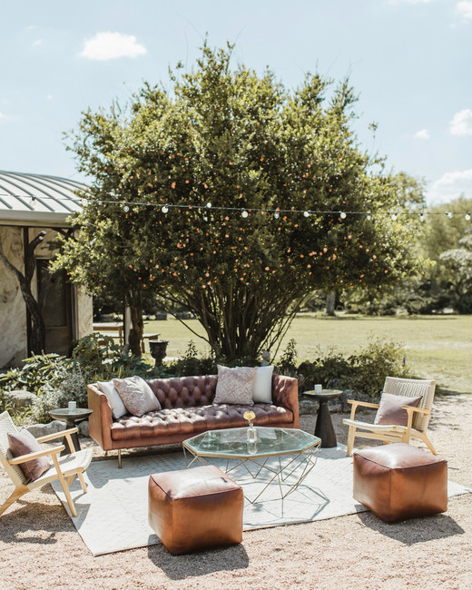 outdoor wedding reception lounge area
