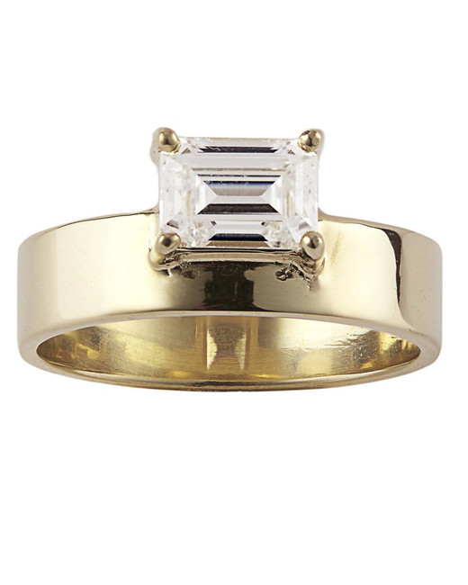 emerald cut ring tall gold band