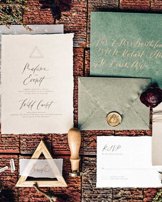 fall invites green and gray suite